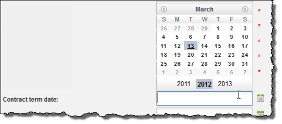 Clicking in the improved date field
