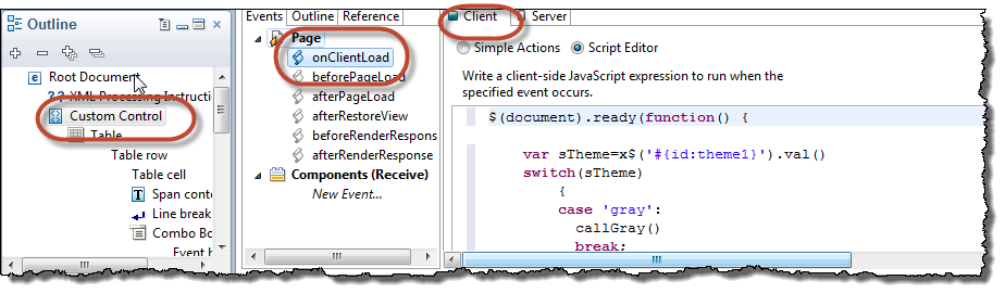 onClientLoad event of the custom control