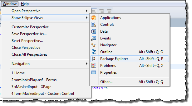 Opening the package explorer in Domino Designer