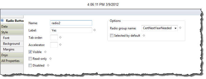 Cert Next Year Needed Radio Button Group