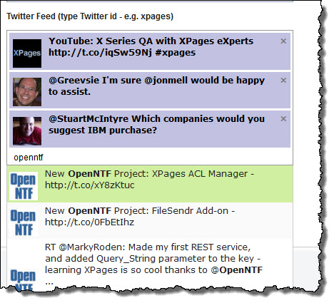 Example Twitter feed with formatted results