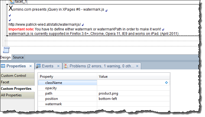Adding parameter values to our custom control in the XPage