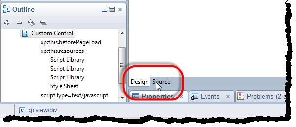 XPage Design Tab