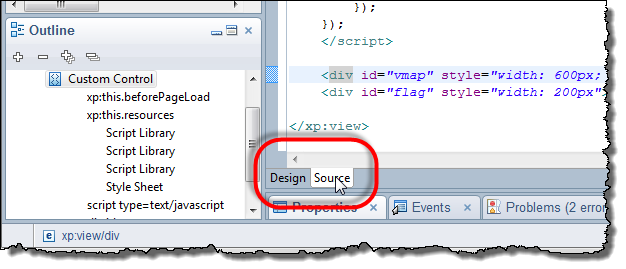 XPages source Tab