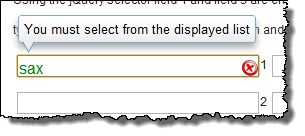 The xTypeAhead custom icon showing no results and the visual popup message