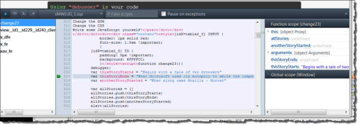 FireFox 15 integrated JavaScript debugger