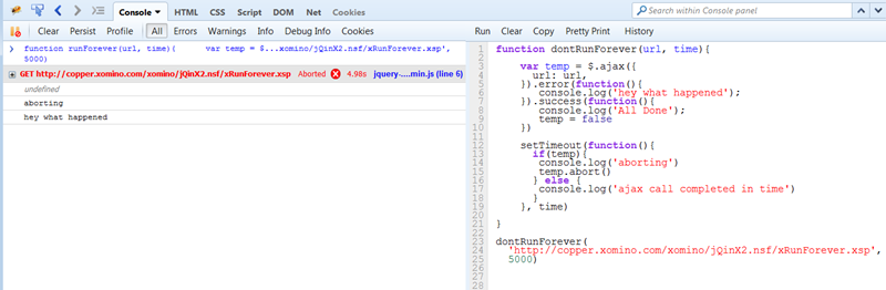 Aborting a jQuery ajax request   Xomino