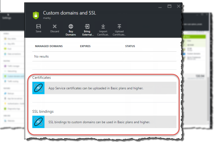Setting up a secure, custom domain, node js site on Azure