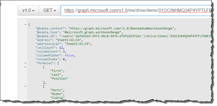 Reading excel file from OneDrive using REST and Microsoft Graph API
