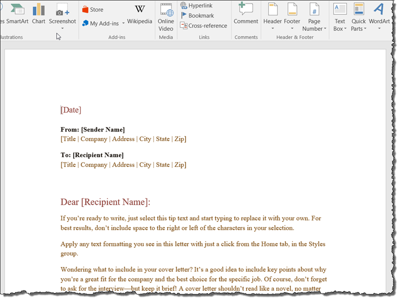wikipedia template for word
