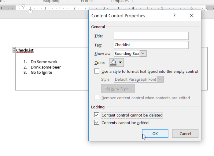 how to use content control in word to add valuess